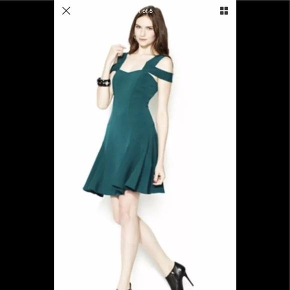 c66b6f4d82a1 ZAC POSEN Z spoke dark green off shoulder dress
